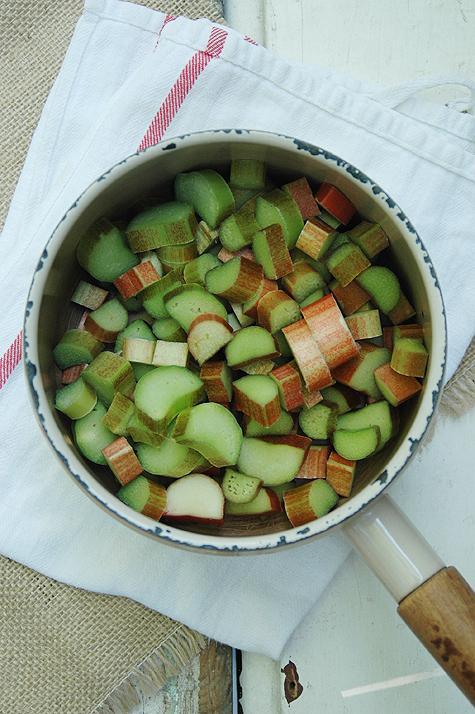 chopped rhubarb in pot
